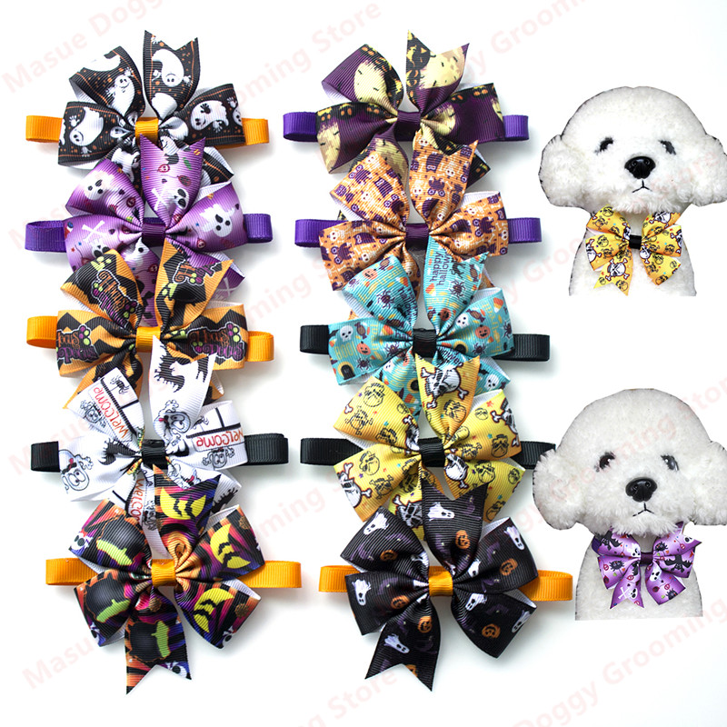 New 50/100pc Dog Bow Ties Halloween Christmas Pet Cat Puppy Bowties Neckties Accessories Dog Holiday Grooming products Supplies