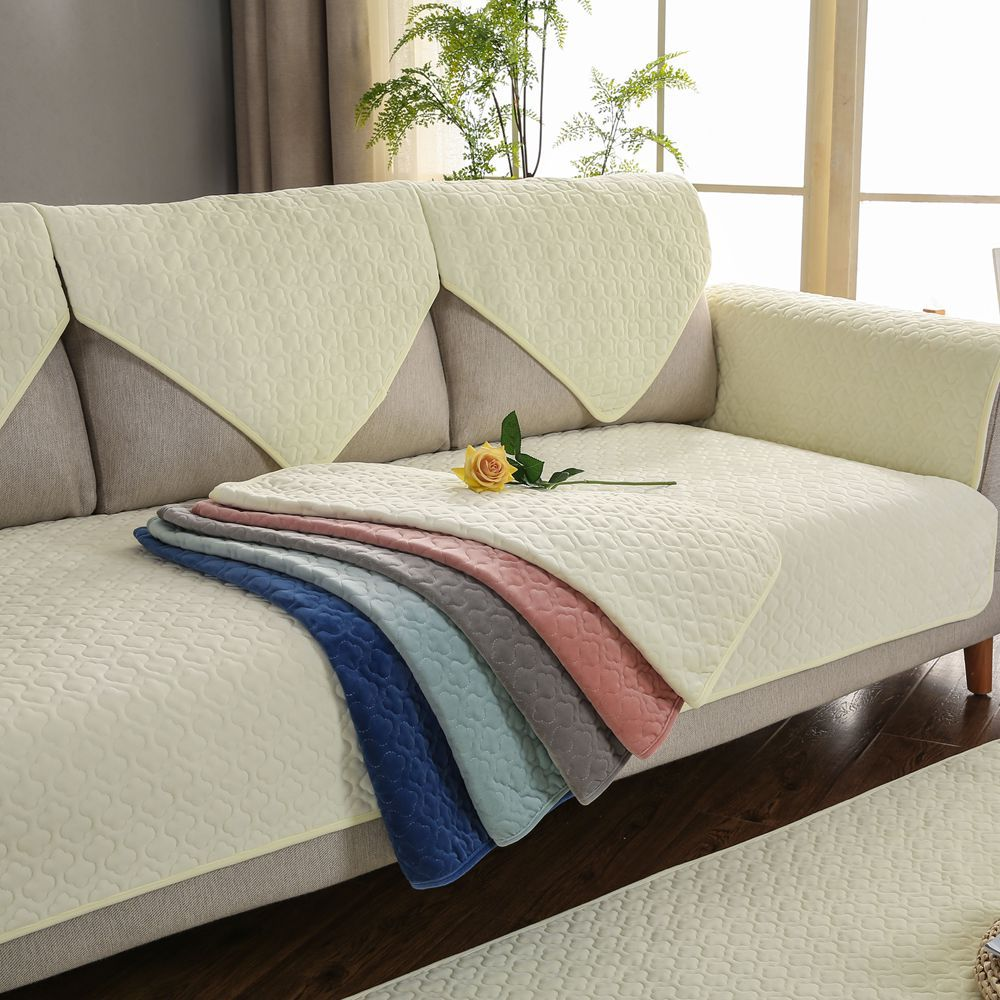 Plush Sofa Cover Couch Cover Cushion Soft Solid Color Sofa Towel Sofa Pillow Autumn Winter Plush Sofa Cover image