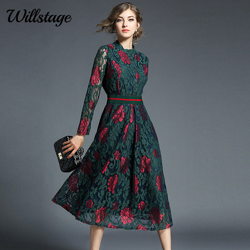 Willstage Floral Lace Dress Party Elegant Long Sleeve Waist Slim Mid Dresses Women Vintage High quality Patchwork Spring Vestido