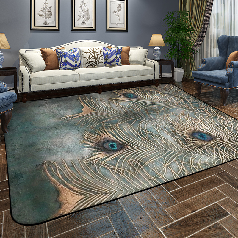 Winlife European Style Peacock Feather Carpets Colorful