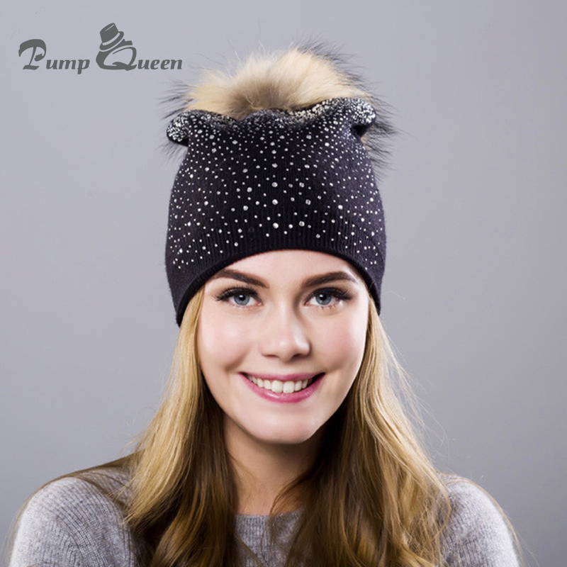 Keep Warm Winter Hat Beanies Fur Wool Pearl Knitted Hat The Female Of The Mink Caps Beanies Hats For Women Girl S Cap