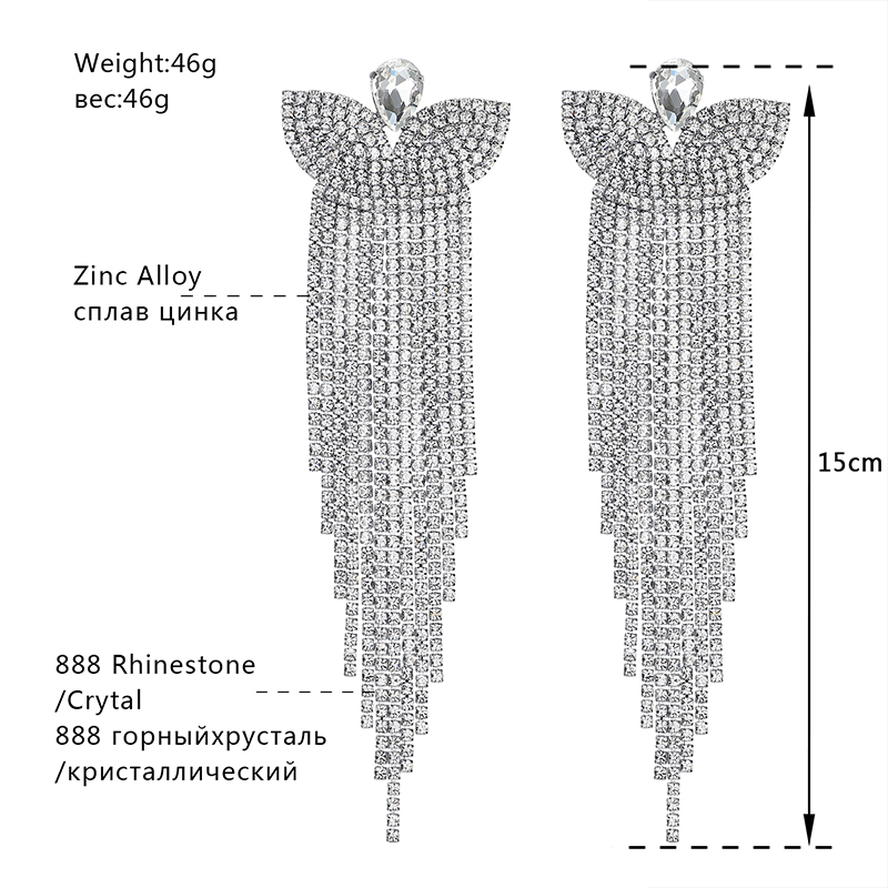 Minmin Silver Color Crystal Bridal Big Long Earrings Butterfly - Fashion Jewelry - Photo 3