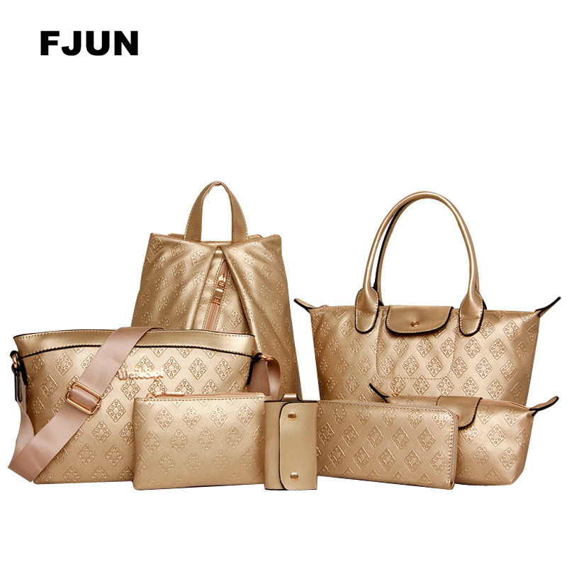 FJUN 2018 Women Messenger Bags 7Pcs\Set luxury Designer Handbag Shoulder Women Composite bag Tote High-Grade Embossed Female Bag high quality tote bag composite bag 2