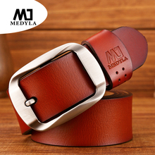 MEDYLA New Mens Genuine Leather Jeans Belt Pin Buckle Casual Strap Luxury Brand Cummerbunds For Male Cintos Masculinos Cowskin