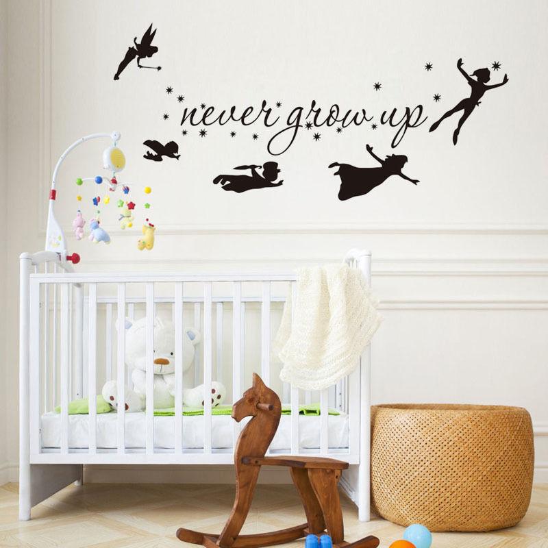 Peter Pan Wall Art.Us 6 99 25 Off Tinkerbell Star Never Grow Up Peter Pan Wall Decal Kids Baby Bedroom Vinyl Sticker Home Decor Nursey Stickers Art Mural Z835 In Wall