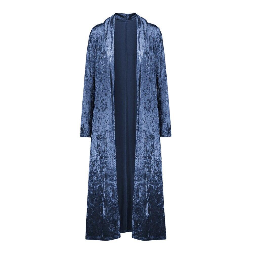 2018 Autumn Long Sleeve Velvet Outwear Elegant Long Velvet Cardigan High Street Fashion Female Long   Trench   Coat Pull Femme