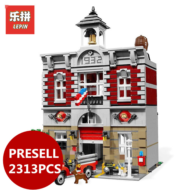 LEPIN 15004 2313Pcs City Street Fire Brigade Model Building Kits Blocks Bricks Compatible 10197 Brick birthday gifts lepin 15018 3196pcs creator city series sunshine hotel model building kits brick toy compatible christmas gifts