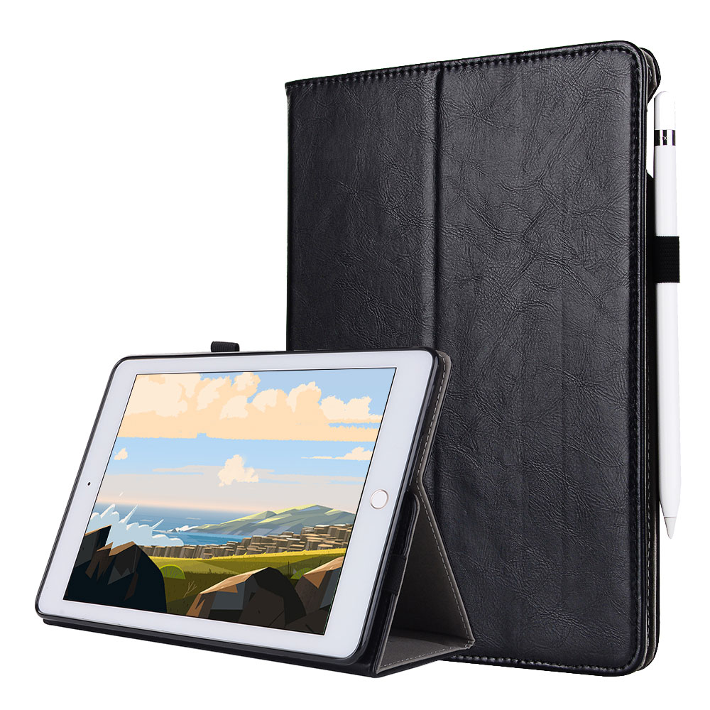 For iPad Pro 12.9 2017 2015 Smart Tablet Case Cover High Quality Genuine Leather+PU Folding Stand Case+Card Slots+Pencil Holder