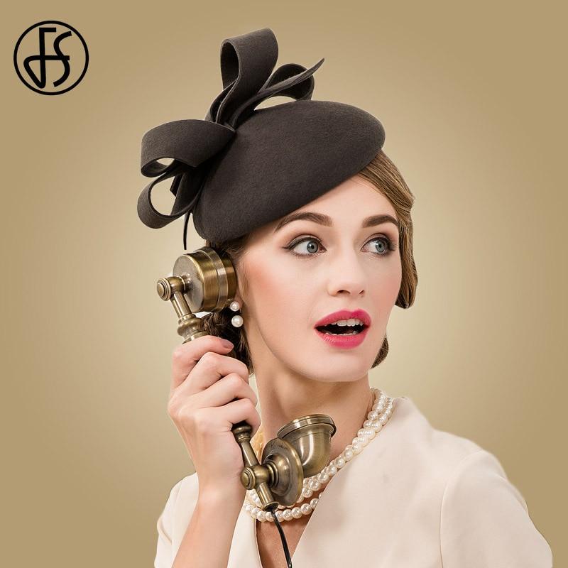 86161533fb3f9 FS Fascinator 100% Wool Wedding Dress Hat Women Dark Gray Fedora Vintage  Ladies Pillbox Hats England British Bow Boina Feminino