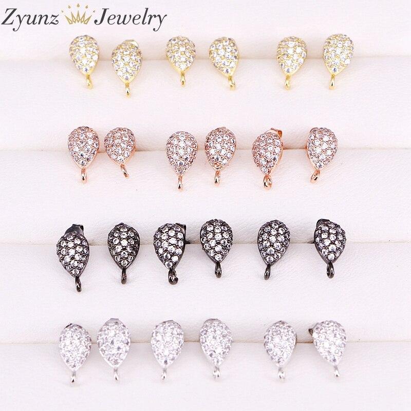 20 Pairs ZYZ300 4964 Earrings Post with Loop Hanger Paved Rhinestone CZ DIY Stud Earrings Jewelry