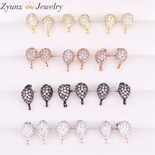 20 Pairs ZYZ300 4964 Earrings Post with Loop Hanger Paved Rhinestone CZ DIY Stud Earrings Jewelry Findings