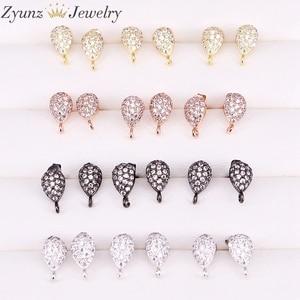 Image 1 - 20 Pairs ZYZ300 4964 Earrings Post with Loop Hanger Paved Rhinestone CZ DIY Stud Earrings Jewelry Findings
