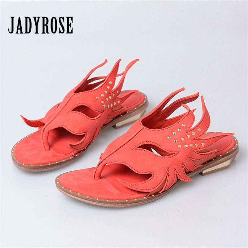 Jady Rose 2018 Summer Slippers Suede Women Gladiator Sandals Rivets Flat Flip Flops Casual Beach Shoes Woman Flats Slides women slides flip flops sandals fashion 2018 brand unisex indoor home slippers casual summer comfortable woman flats beach shoes