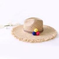 Nuova signora di modo palla di capelli di colore jazz Rafia cappello del sole di Estate delle donne grande cappello del bordo di protezione solare