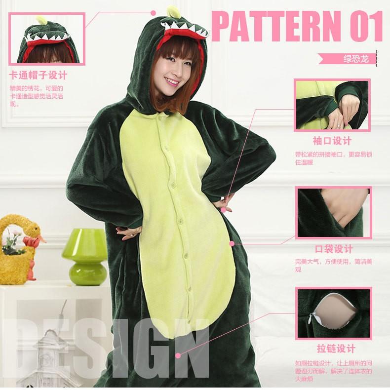 7d2ce0a94a450 Female pyjamas Unicorn Stitch Panda Dinosaur Soft Flannel Hoodies Pajamas  Pijamas Cos Animal Onesies Sleepwear For Women Adults-in Sleep & Lounge  from ...