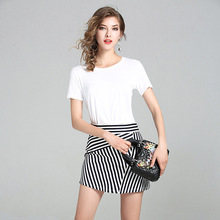 High Quality 2017 Designer Runway Suit Set Womens 2 Piece White Shirt Tops + Sexy Striped Skirt Streetwear Office Clothing Suit