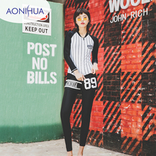Aonihua Long Sleeve Two Piece Swimsuit For Women Stripes Design Slim Vest Sport Swim Wear Gilr Surfing Bathing Suits
