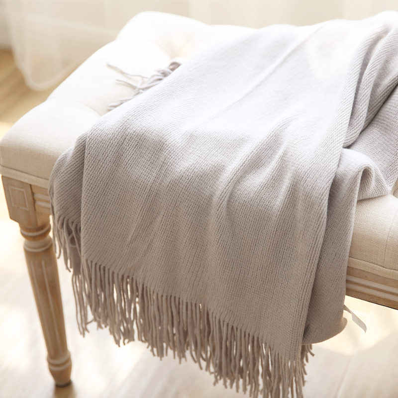 USA Style Knitted Throw Blanket with tassel Shawl scarf Casual Style Bed Sofa Cover  Cashmere Like Solid Plaids Bedspread