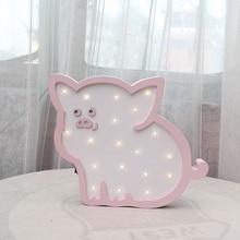 Newstyle Wooden Pig LED Night Light Cartoon Bedside Wall Lamp Light Children Baby Kids Bedroom Home Decorative Lighting IY304123