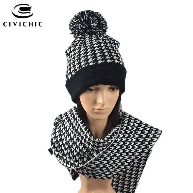 CIVICHIC Chaude Mode Femme Homme Tricoté Chapeau Écharpe Ensemble avec  Pompon Automne Hiver Chaud Élégant Châle 6fb4fa4bee9