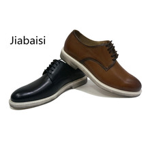 Jiabaisi shoes men dress brush Luxury Retro cool derby shoes Daily fashion comfort Genuine leather shoes men
