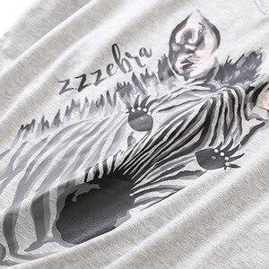 Image 5 - Женский пижамный комплект на лето и весну, новинка, пижама с принтом зебры из мультфильма, топ с v образным вырезом + штаны, тонкая Домашняя одежда большого размера в Корейском стиле