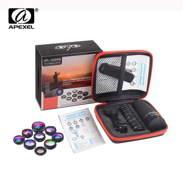 Объектив APEXEL 10 в 1 для камеры телефона, комплект объективов «рыбий глаз», широкоугольный Макро Звездный фильтр, CPL линзы для iPhone XS Mate Samsung HTC LG, 1 комплект