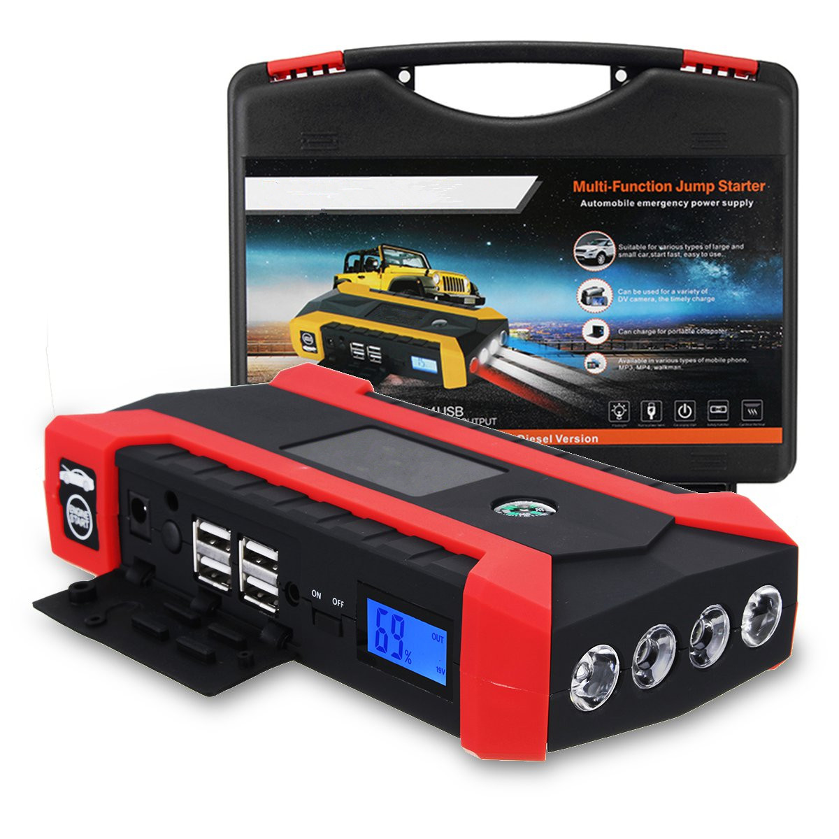 Car Jump Starter 600A 89800mAh Multifunction Car Charger Battery Jump Starter 4USB LED Light Auto Emergency Mobile Power Bank new 12v 89800mah portable 4usb car jump starter power bank tool kit booster charger battery automobile emergency led light