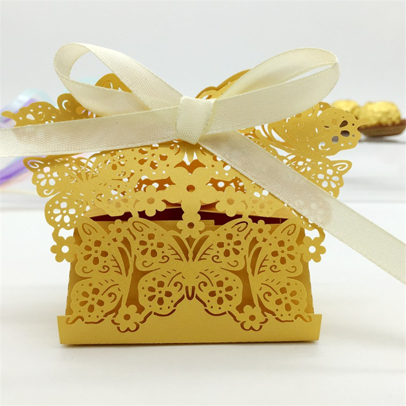 Butterfly Themed Favor Boxes : Pcs lot flower butterfly wedding candy box