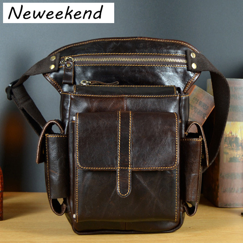 купить NEWEEKEND Men's Cowhide Geunine Leather Travel Motorcycle Messenger Shoulder Hip Belt Fanny Pack Waist Drop Leg Bag LZ-8900 недорого