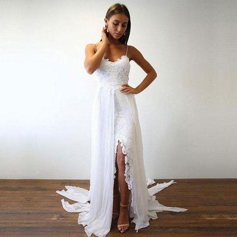 Sexy Backless Spaghetti Straps Lace Wedding Dress Beach Side Slit Vestido De Novia Playa 2019 Bridal Wedding Gown Chiffon Rich In Poetic And Pictorial Splendor