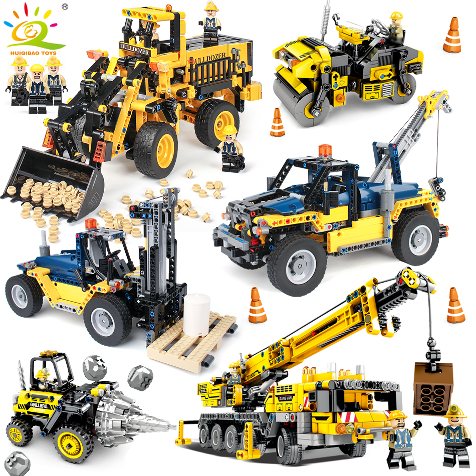 Engineering Bulldozer Crane Compatible Legoingly Technic Truck Building Block Enlighten Brick City Construction Toy For Children