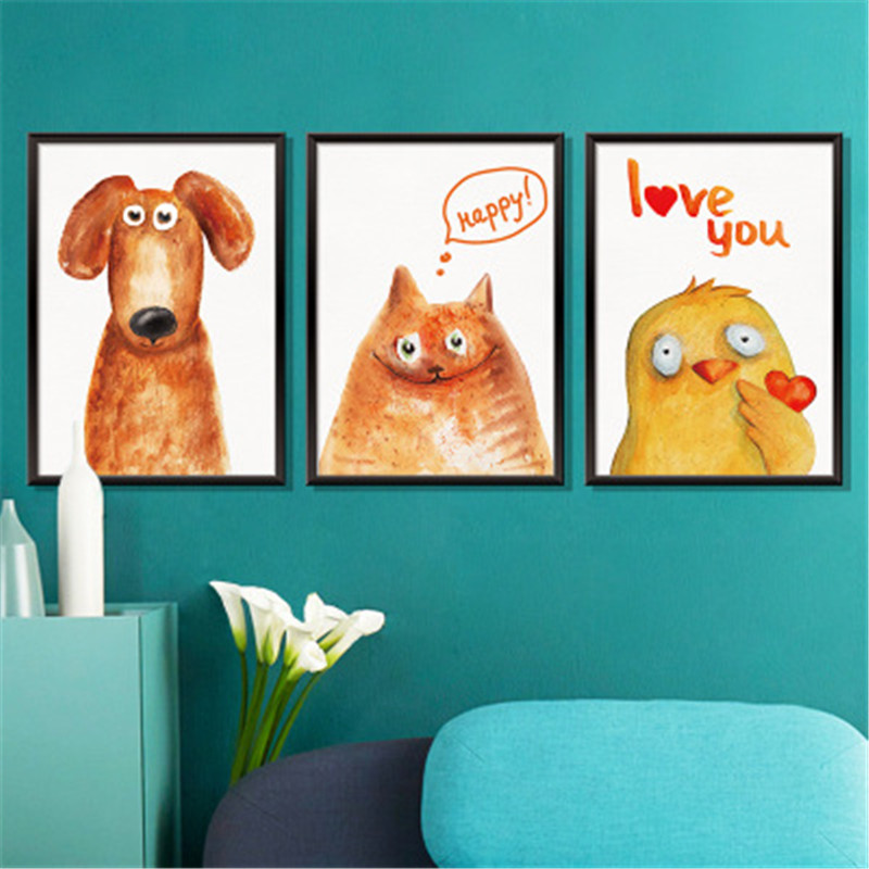 Triptych Painting Dogs Wall Stickers For Kids Room Home Decors Living Room Office Wall Art Mural Animal Wall Decals Muraux