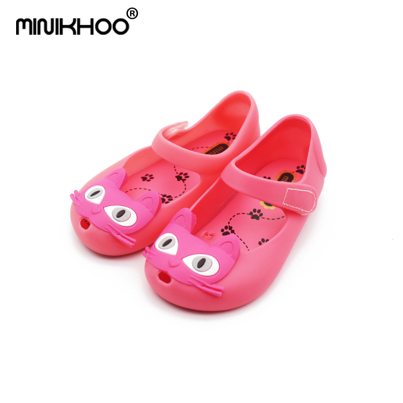 e245393c31a8 Mini Melissa Cat Head Girls Jelly Sandals 2017 Summer Mini Sed Kitty  Children Melissa Jelly Shoes Waterproof 3 Color EUR 24-29