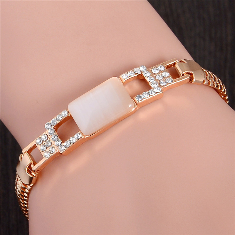 SHUANGR Fashion Gold Color Jewlery Round Cut Austrian Crystal Square Opal Bracelet For Women Gift TL226 ...