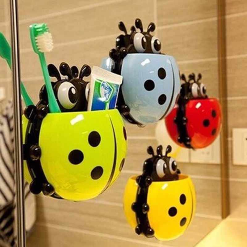 4 Colors Cute Ladybug Insect Toothbrush Wall Suction Bathroom Sets Cartoon Sucker Toothbrush Holder  Suction Hooks