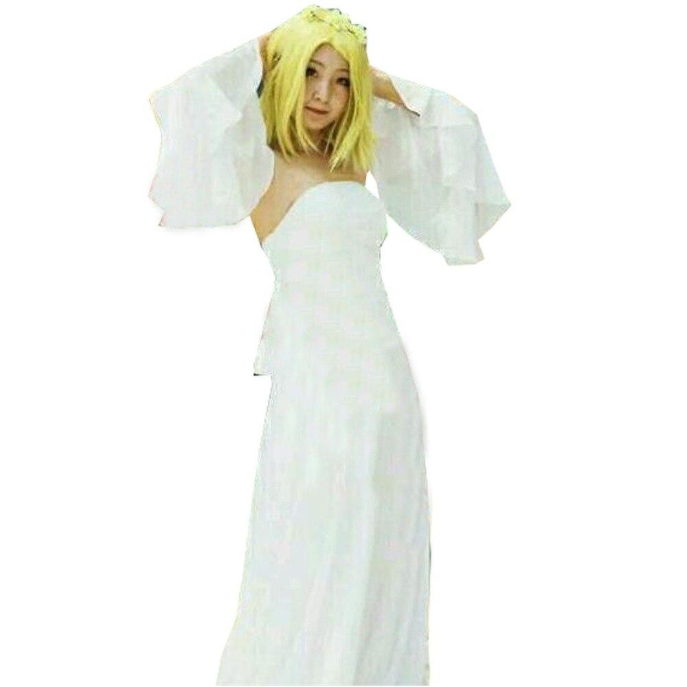 2018 Anime The Seven Deadly Sins Elaine Cosplay Costume White Lolita Long Chiffon Dress