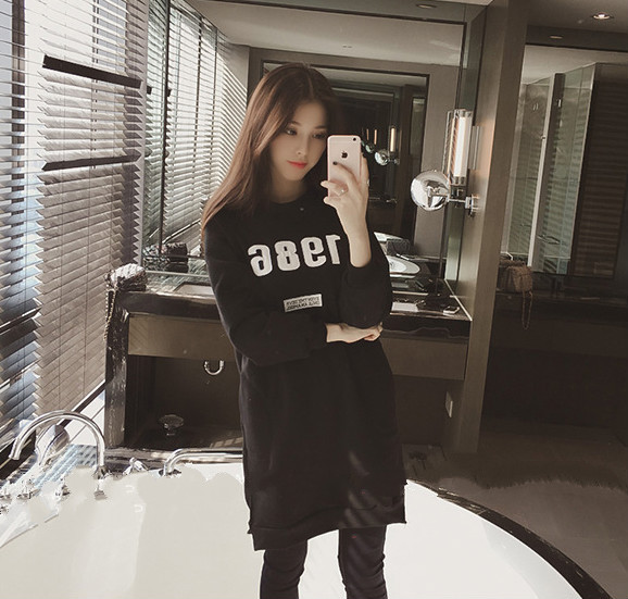 Women Autumn Dress Winter Sets Han Edition Leisure Loose Round Collar Long Render with Velvet Thickening In Long Sleeve