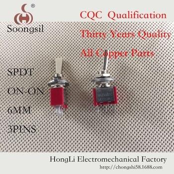 цена на 5PC/LOT Free Shipping  Flat handle  Rocker Switch 3 Pin ON-ON  SPDT  CQC UL ROHS Silver Point AC 6A/125V 3A/250V
