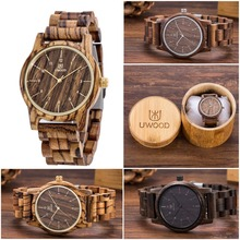 Top Luxury Brand Designer Mens Wood Watch Zabra Wooden Walnut Wood Watches Fashion Quartz Watches for Men Japan miyota Watch Men