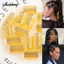 Meideheng Metal Hair Rings Beads Tubular Ornaments Adjustable Clips Accessories For Dreadlocks Electroplating Golden Silver