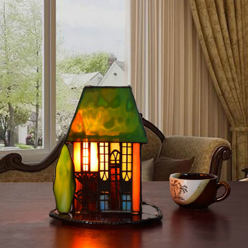 Great Exotische Tiffany Handgefertigte Bunte Glas Kleines Haus Led E14 Tischlampe  Für Hochzeitsgeschenke Schlafzimmer Nacht Deco Nachtlicht 2257 In Exotische  ...