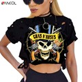 2017 Women Clothing crop tops t-shirt Plus Size Rock Fashioin Printed Cotton T Shirt Female Women Top Tees Guns N Roses Crop Top