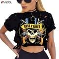 2017 mujeres clothing blusas de la camiseta más el tamaño de la roca fashioin impreso Guns N Roses Camiseta de algodón Femenino de Las Mujeres de Tes Superior de Cultivos Top