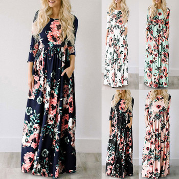Women Dress 2018 Summer Long Floral Print Boho Dress 1