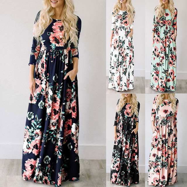 Summer Long Dress Floral Print Boho Beach Dress Tunic Maxi Dress 1