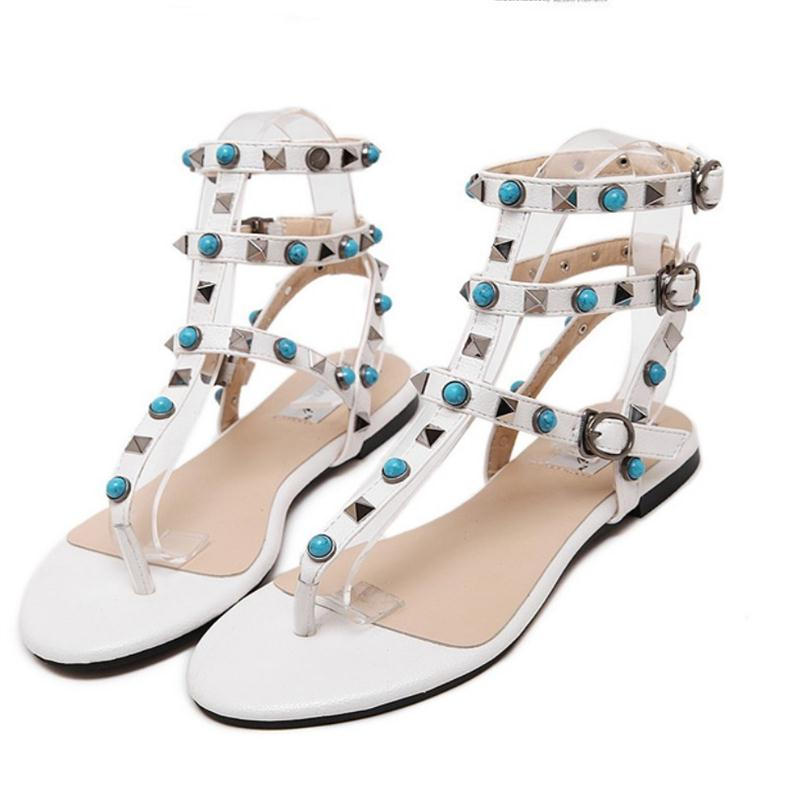 2016 Blue Diamond Rivets Student Preppy Style Girl Flat Sandals Turquoise Thong T Strap Strappy Leather Rome Gladiator