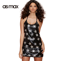 asmax Fashion Women Mini Dress Sleeveless Off Shoulder Strap Dress Female Loose Backless Party Bodycon Dress Sexy Stars Vestidos