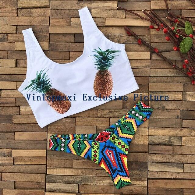 6ec589b5dd12e 2017 Cute Pineapple Bikini Set Triangle Thong Brazilian Swimsuit Summer  Tank Top Sports Vest Beach Swimwear Ladies Bathing Suit
