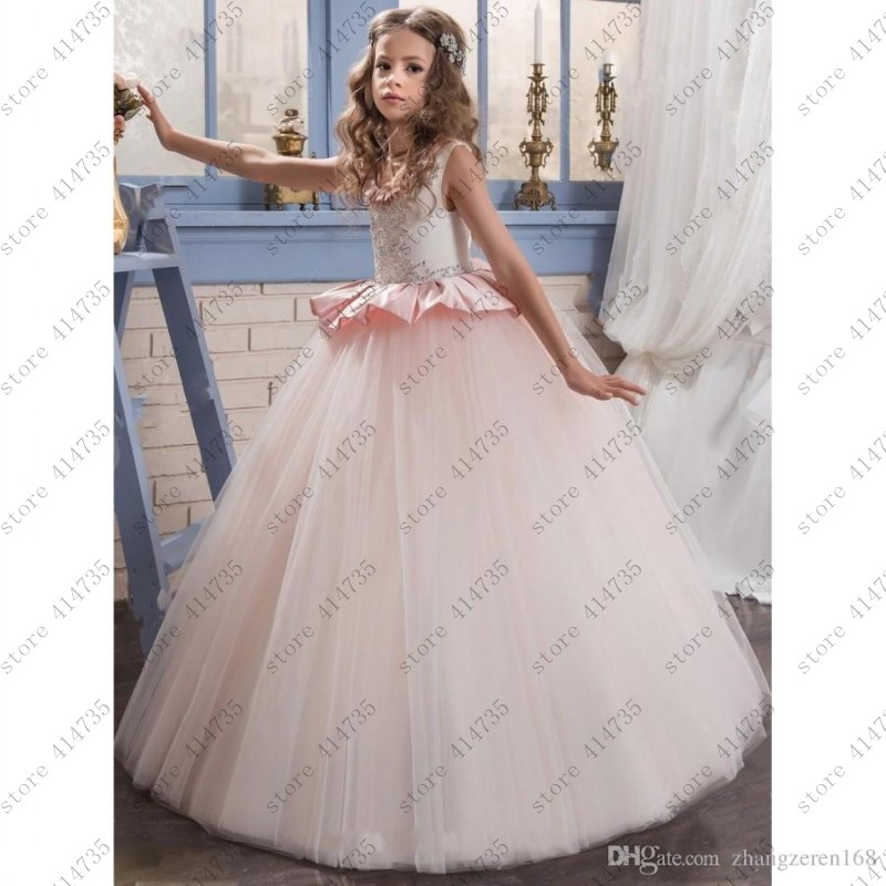 Cute 2019 ball gown   flower     girl     dresses   for weddings lace vestido primera comunion 2-14 comunion   dress